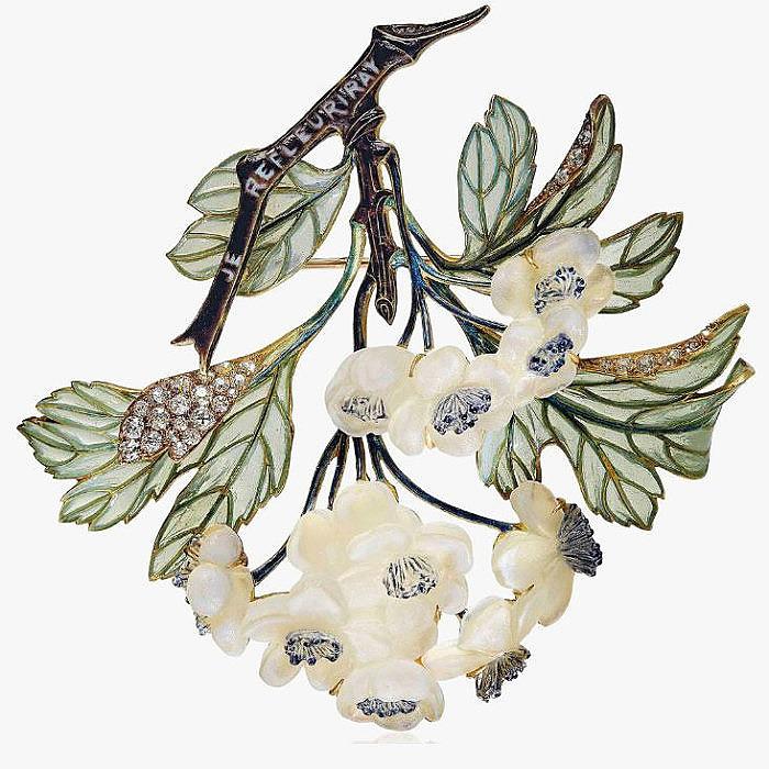 Брошь с эмалью бриллиантами и стеклом от Rene Lalique