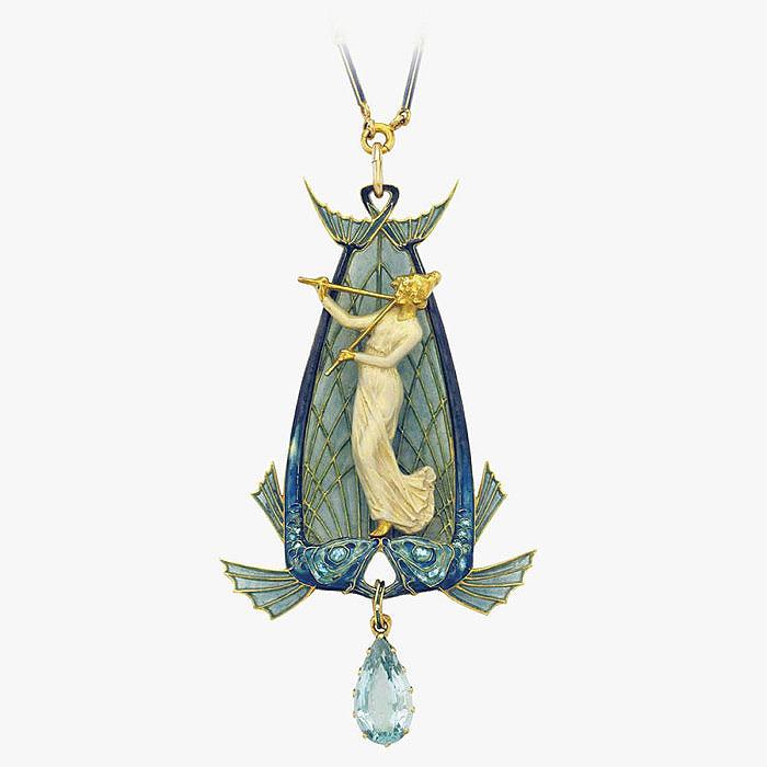 Подвеска с эмалью и аквамарином от Rene Lalique