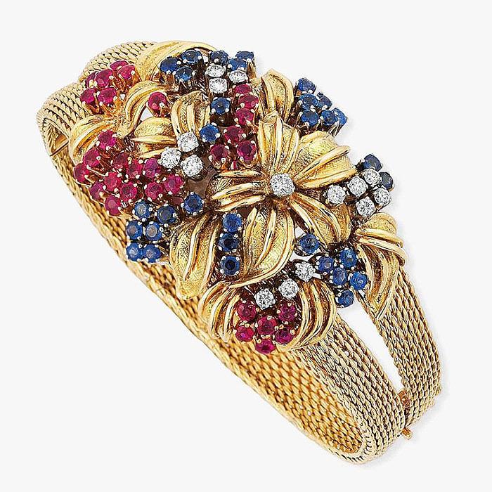 Браслет-часы Rolex с сапфирами, рубинами и бриллиантами