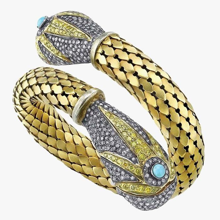 Золото, бриллианты и бирюза в браслете от Amrapali