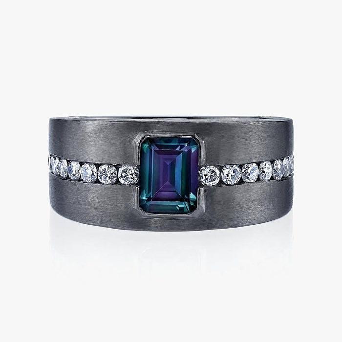 Мужское кольцо Omi Privé с  александритом и бриллиантами