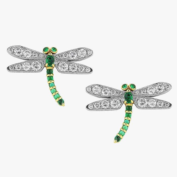 Серьги-стрекозы с бриллиантами и изумрудами от Shreve, Crump & Low
