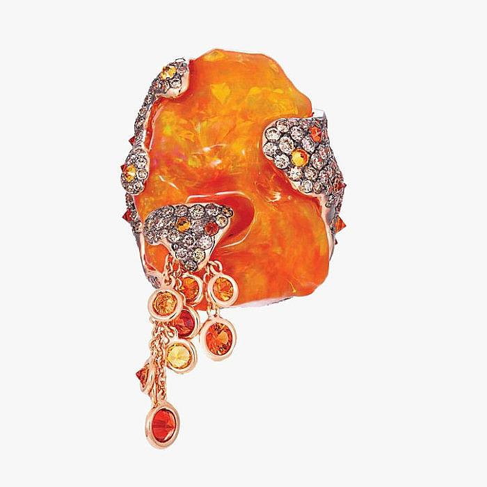 Кольцо с огненным опалом и бриллиантами от Italian-Design