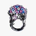 Кольцо с бриллиантами, сапфирами и микромозаикой от SICIS