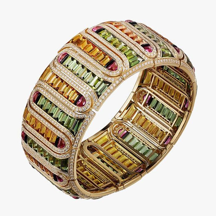 Браслет с цитринами, турмалинами, ониксом, рубеллитами и бриллиантами от Cartier