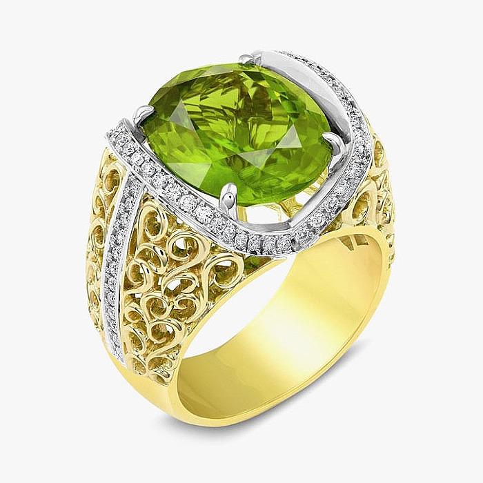 Белое и желтое золото, хризолит, бриллианты в кольце Andrew Bugher