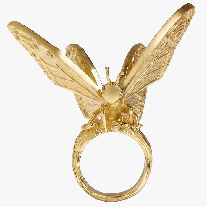 Кольцо с бабочкой из золота с бриллиантами от Elyssa Bass Designs