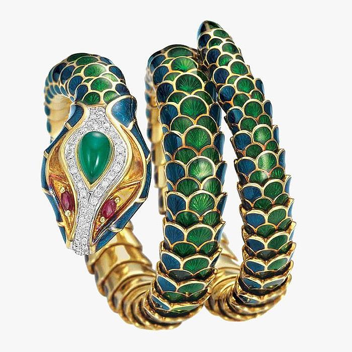 Змеиный браслет в золоте с эмалью, бриллиантами