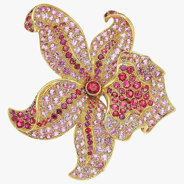 Цветные сапфиры и шпинель в броши от Tiffany & Co.
