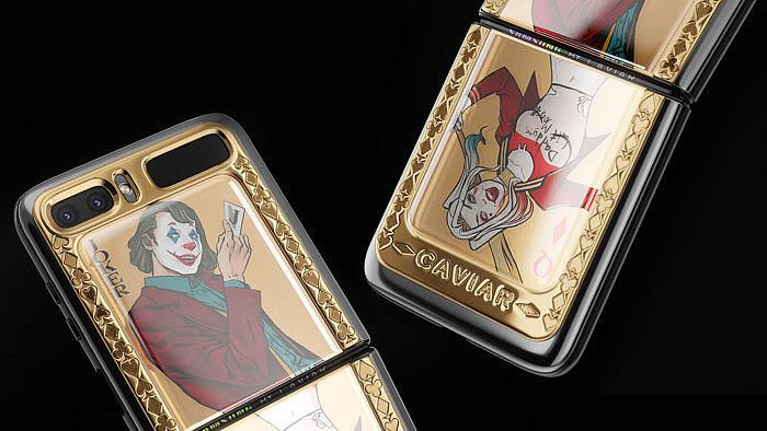 Samsung Galaxy Z Flip от Caviar: в золоте с Джокером и Харли Квинн